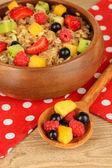 Aveia com frutas em close-up tabela — Foto Stock