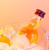 Minibar bottles in bucket with ice cubes, on color background — ストック写真