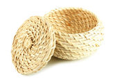 Wicker basket with cover, isolated on white — Stock Photo
