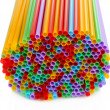 Many straws close-up isolated on white — Stock Photo