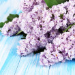 Beautiful lilac flowers on table close-up — Stock Photo