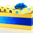 Yellow box for gifts isolated on white — Stock Photo