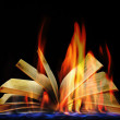 Open book in flame on black background — Stock Photo