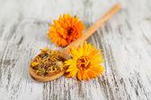 Fleurs de calendula fraîches et séchées sur fond en bois — Photo