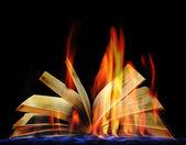 Libro abierto en llamas sobre fondo negro — Foto de Stock