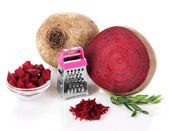 Sliced and grated beetroot isolated on white — Stock Photo