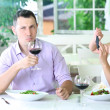Stock Photo: Young couple taking photo with mobile phone in restaurant