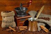 Metal turk on wooden background — Stockfoto