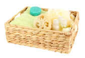 Set for spa in wicker basket, isolated on white — Zdjęcie stockowe