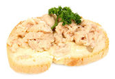 Tasty sandwiches with cod liver, isolated on white — Stock Photo