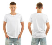 T-shirt on young man in front and behind isolated on white — Stock Photo