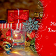 Christmas decoration and gift boxes — Stock Photo