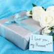 Romantic parcel on blue cloth background — Foto Stock