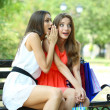 Stock Photo: Two beautiful young womwith shopping bags in park