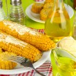 Flavored boiled corn on plate on wooden table close-up — Stock Photo #29861141