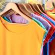 Variety of casual t-shirts on wooden hangers on shelves background — Stock Photo #29861355