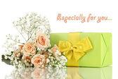 Giftbox e fiori — Foto Stock
