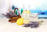 Lavender lemonade, on bright background — Stock Photo
