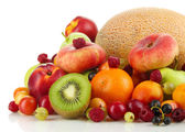 Assortment of juicy fruits, isolated on white — Stock Photo