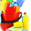 Stock Photo: Cleaning items in bucket isolated on white
