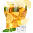Iced tea with lemon and mint isolated on white — Stock Photo #29906361