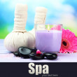 Herbal compress balls for spa treatment, spa stones, gerbera and candle — Stock Photo #29906639