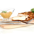 Roasted chicken fillets on wooden board, isolated on white — Stock Photo