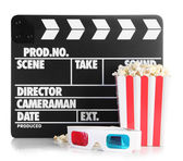 Movie clapperboard popcorn and 3D glasses — Foto Stock