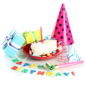 Colorful birthday cake with candle and gifts isolated on white — Stok fotoğraf