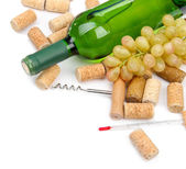 Fles wijn, druiven en kurken, geïsoleerd op wit — Stockfoto