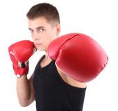 Guapo joven boxeador muscular aislado en blanco — Foto de Stock