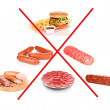 Stock Photo: Collage of unhealthy food