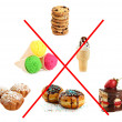 Stock Photo: Concept of unhealthy food. Collage of sweets