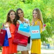 Stock Photo: Three beautiful young woman with shopping bags in park