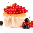 Stock Photo: Tasty muffin with berries isolated on white