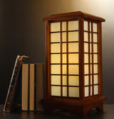 Japanese table lamp on brown background — Stock Photo
