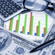 Business background. Financial data concept with diagram and money — Stock Photo #30009125