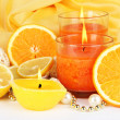 Romantic lighted candles close up — Stock Photo #30008255