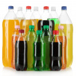Assortment of bottles with tasty drinks, isolated on white — Stock Photo