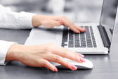 Female hands working on laptop, on grey background — Stok fotoğraf