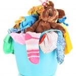 Blue laundry basket isolated on white — Stock Photo