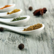 Assortment of spices in white spoons, on wooden background — Stock Photo #30010289