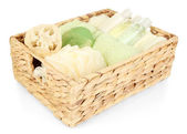 Set for spa in wicker basket, isolated on white — Stock fotografie