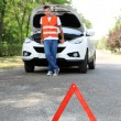 Broken down car with red warning triangle — Stock Photo #30048431