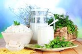 Productos lácteos frescos con verdes en mesa de madera sobre fondo natural — Foto de Stock