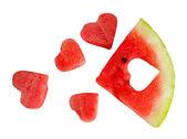 Fresh ripe watermelon, isolated on white — Stock Photo