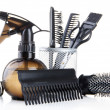Professional hairdresser tools, isolated on white — Stock Photo