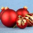 Christmas balls on blue background — Stock Photo #30092425