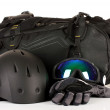 Winter sport glasses, helmet and gloves, backpack, isolated on white — Stock Photo #30116429