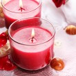 Beautiful red candles with flower petals in water — Stock Photo #30116645